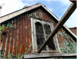 Derelict and decaying tin tabanacle (chapel) in Ponders End