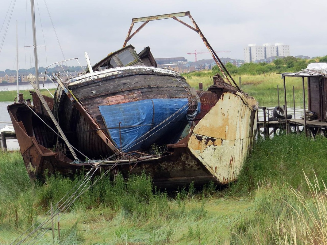 Picture of redundant decaying boats in graveyard on the River Thames in Swanscombe,Kent near Gravesend