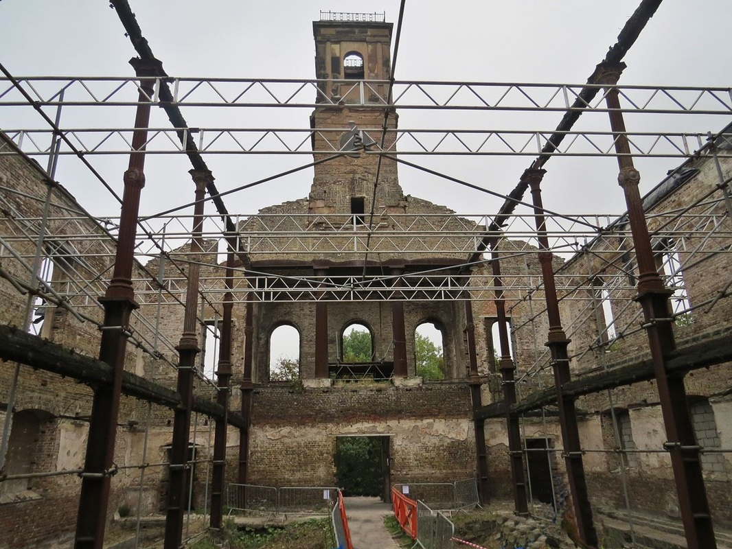 Picture of the interior of the derelict Sheerness Dockyard Church before restoration takes place