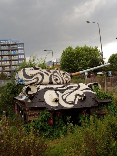 Bermondsey T34 tank on Mandela Way off Old Kent Road