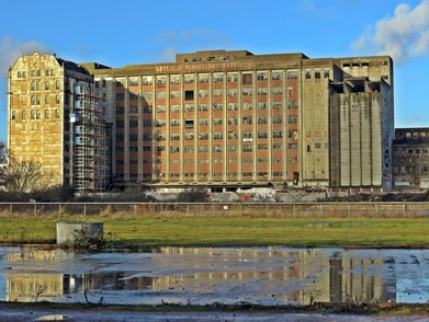 Millennium Mills by the Royal Docks on Derelict London guided walking tour of Silvertown, E16 in Newham