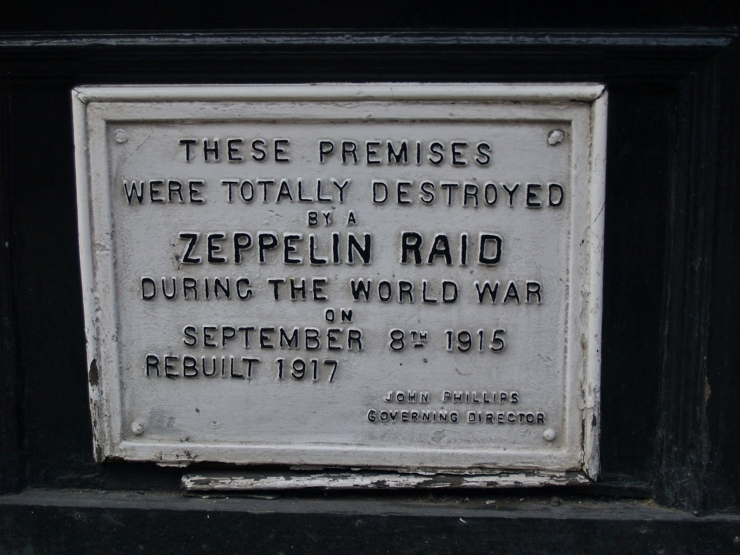 Premises destroyed on Farringdon Road Zeppelin Raid 1915