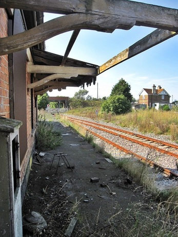 Picture of derelict Lydd Station that closed in 1967 now in a decayed state