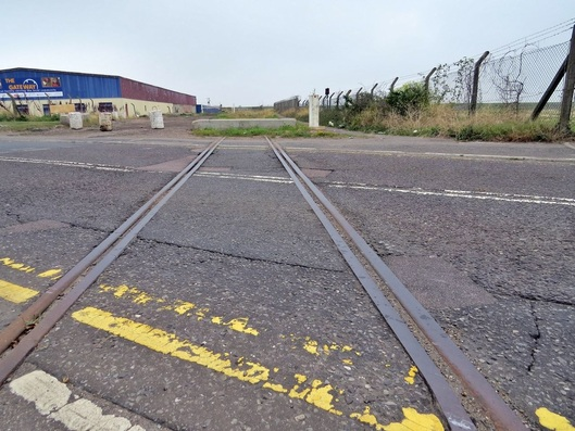 Picture. Redundant railway sidings in Queenborough on Isle of Sheppey