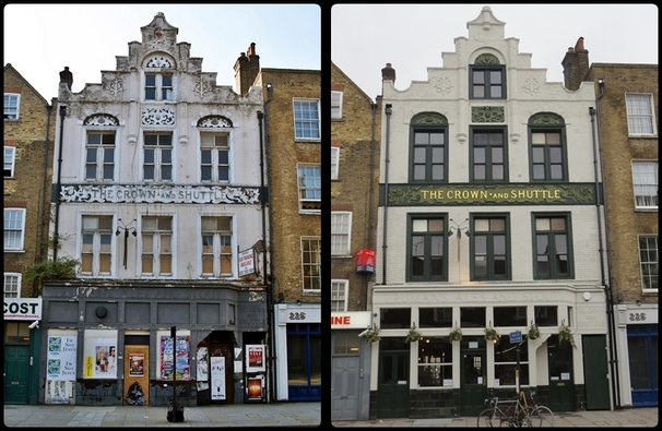 SHOREDITCH E1 - The once derelict Crown and Shuttle pub as featured in the Derelict London book is now back trading as a pub