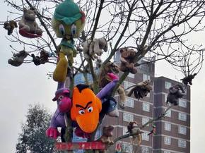 Abandoned cuddly toys saved from the skip in the Croydon Toy Tree (Gloucester Road)