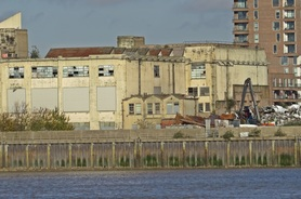 Picture of derelict factory beside River Thames in Silvertown in Newham, London, E16