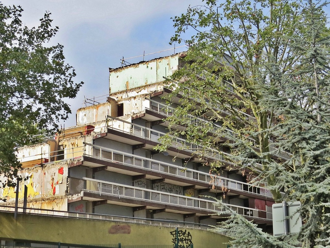 partly demolished tower block on the Heygate Estate in South London