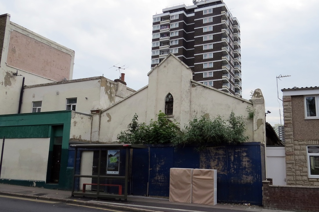 Derelict Salvation Army chapel in Upper Road, Plaistow, East London