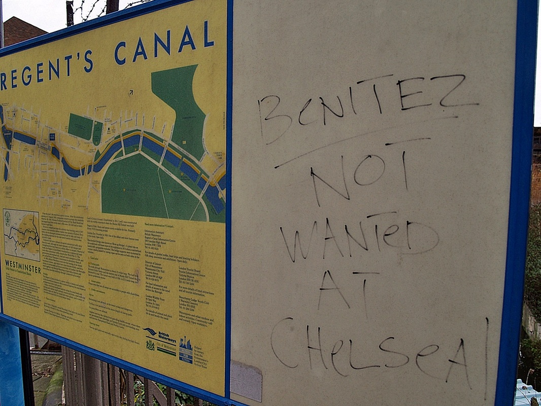 Benitez not wanted at Chelsea graffiti in Maida Vale by the Regent's Canal