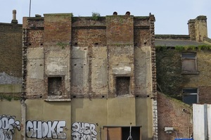 Derelict abandoned buildings just off Rye Lane in Peckham SE15 near the route of the hidden and lost River Peck