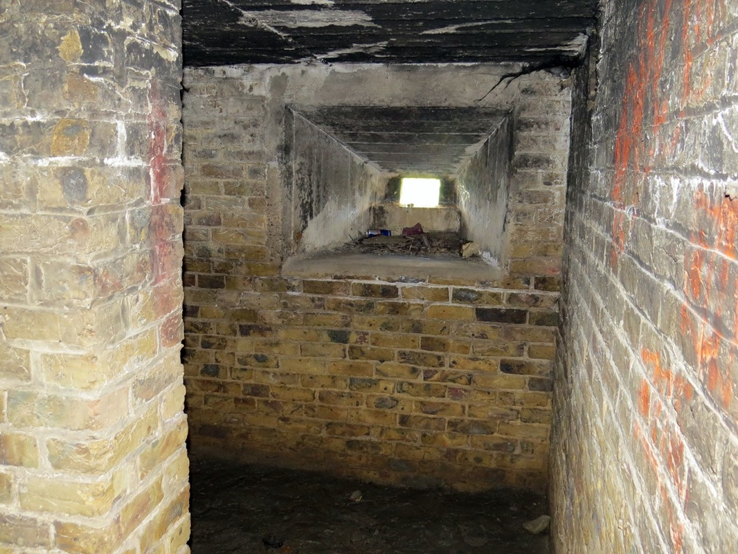 Picture of interior of World War Two pillbox in Hoo, Kent