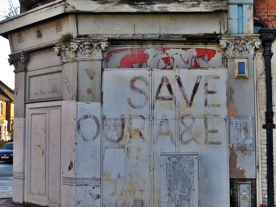 Save Our A & E grafitti on an abandoned building in Catford, London Borough of Lewisham