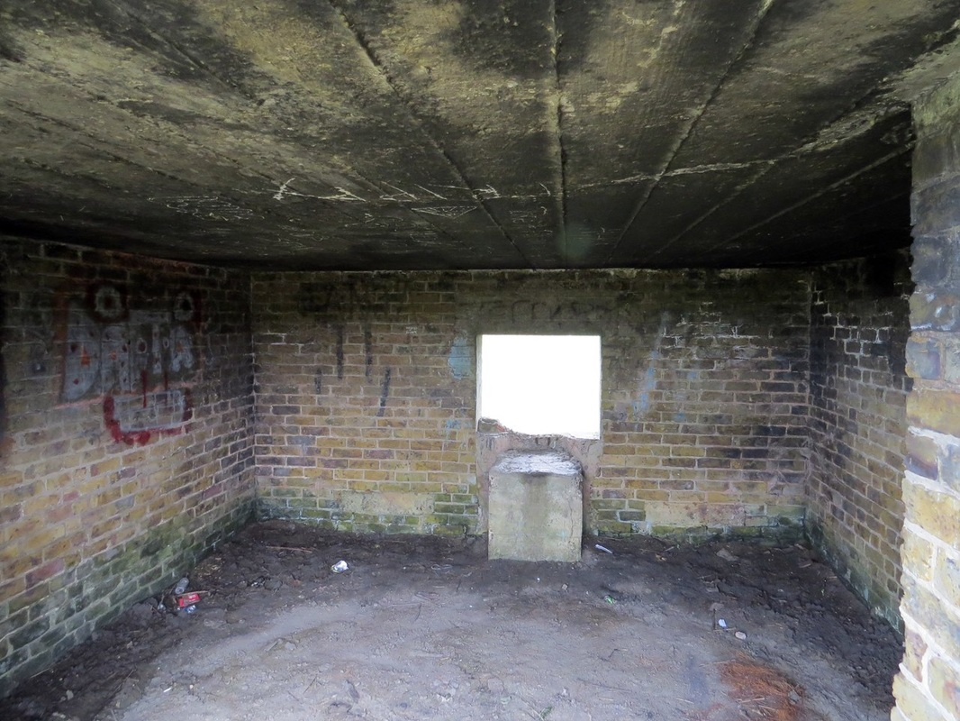 Picture of interior of abandoned pill box near Hoo St Werburgh on the Medway, Kent