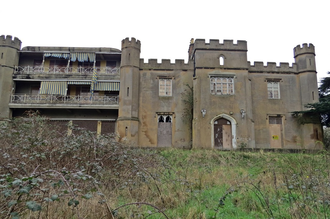 Twyford Abbey is a large abandoned gothic style building near Hangar Lane gyratory. Derelict London website photograph from Spring 2016