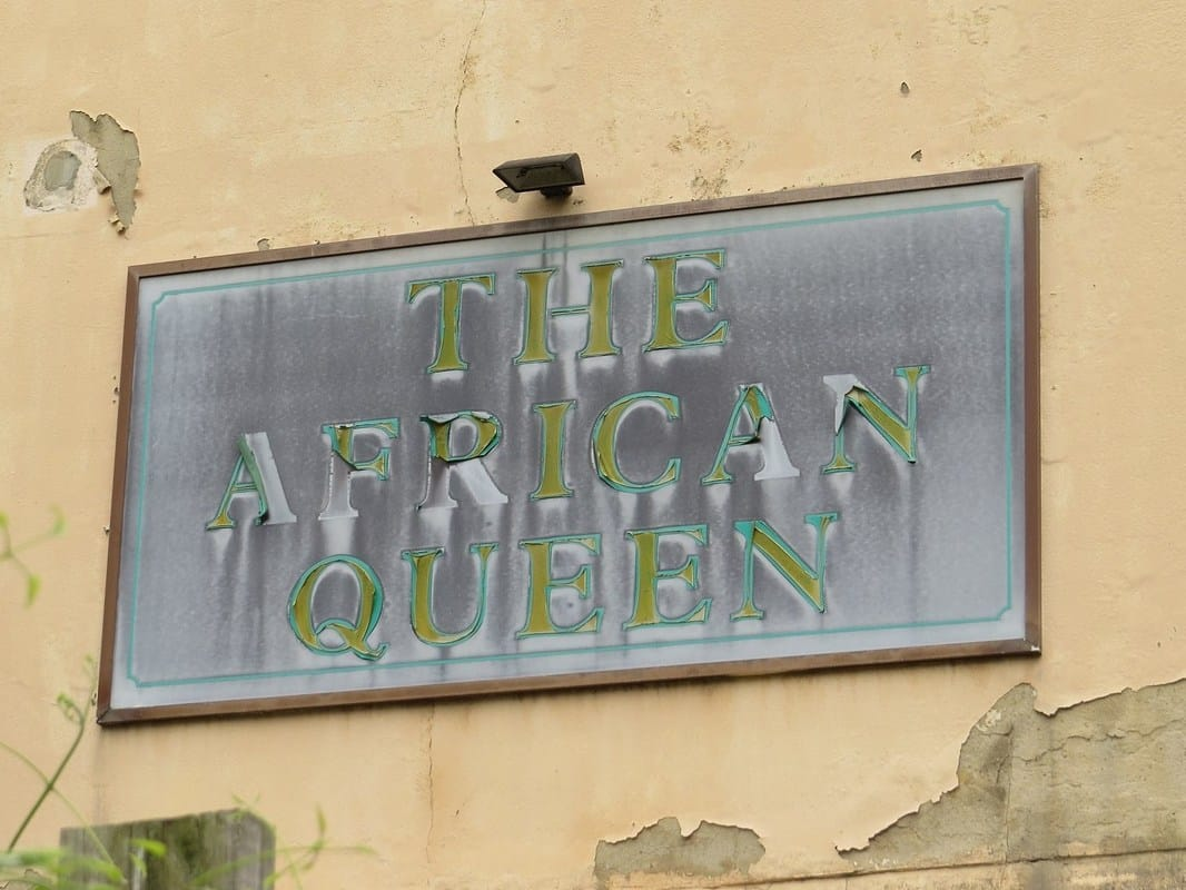 ghost sign for African Queen defunct pub in Grundy St, Poplar