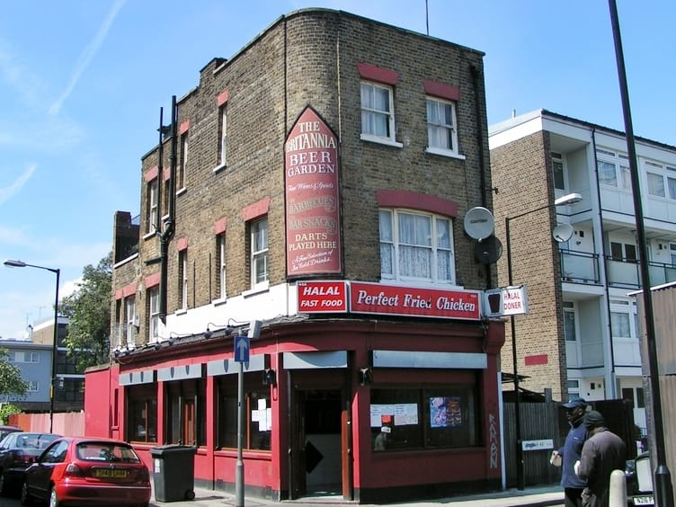 The Britannia pub (pub of the Watney Streeters) in Morris Street, Shadwell is now Perfect Fried Chicken