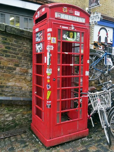 classic domed design K6 telephone box made from cast iron with a domed roof designed by Sir Giles Gilbert Scott