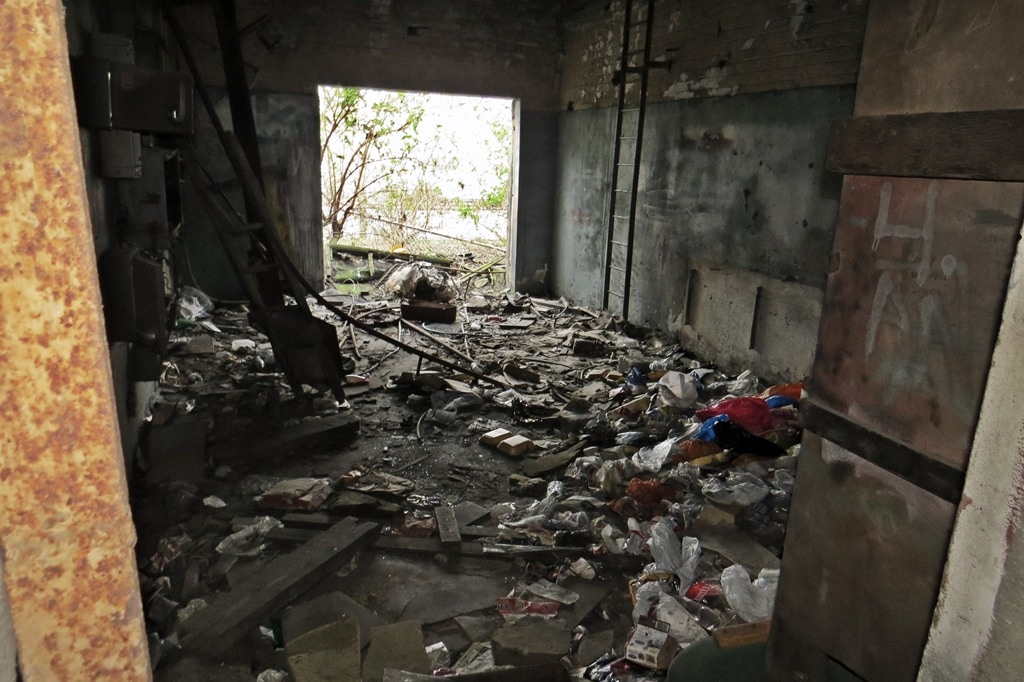 Interior of derelict building in  Silvertown, E16 - Junction of Hartmann Rd and Connaught Rd