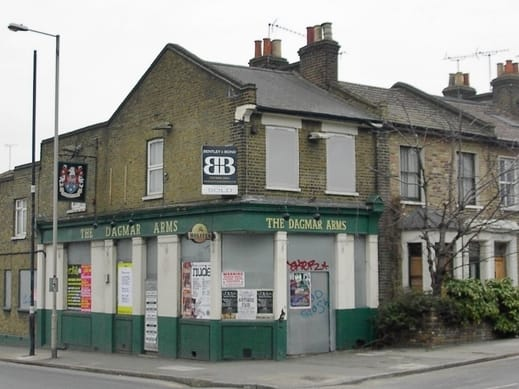The Dagmar Arms derelict pub on Danesdale Road, Hackney now E & E Food & Wine