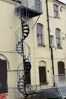 spiral staircase at derelict building in East London