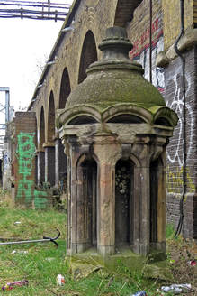 Cupola from demolished Harwich House in Bishopsgate besdie Liverpool St Station now beside railway track by Pedley St arches in Fleet St Hill