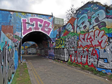 Graffiti covered Pedley Street Arch are the remains of the old viaduct into Bishopsgate Goods Yard.