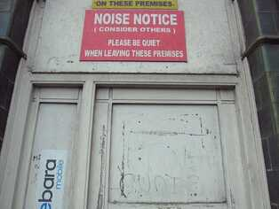 Noise Notice outside ex pub on Commercial Rd, Stepney