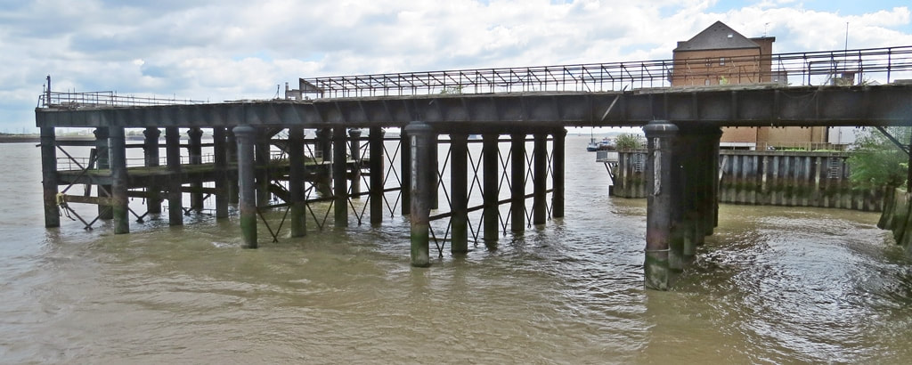 derelict Gravesend West Station Pier once used for boat trains