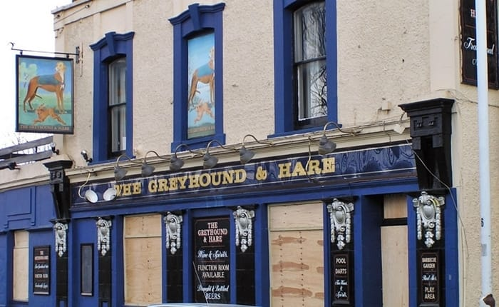 The boarded up Greyhound & Hare pub in Balaam Street, Plaistow now Kate's Cafe