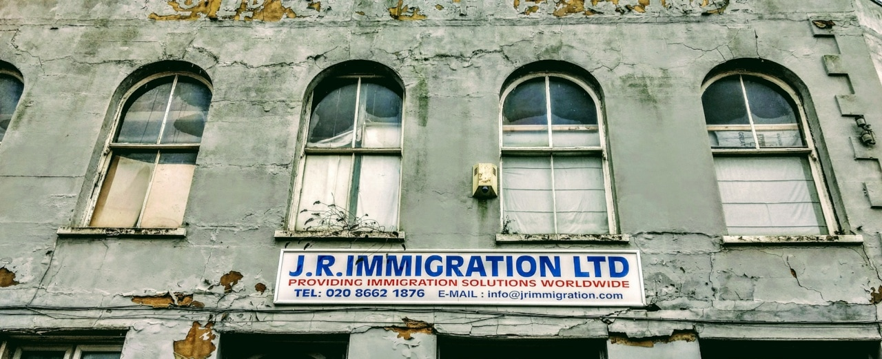 Abandoned site of JR Immigration Ltd providing Immigration Solutions Worldwide on the site of the former Alexandra Hotel in Clifford Road, South Norwood SE25
