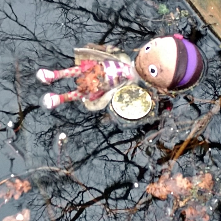 Pre Raphaelite doll. A modern day Ophelia in Betts Pk, Anerley on remnant of the Croydon Canal