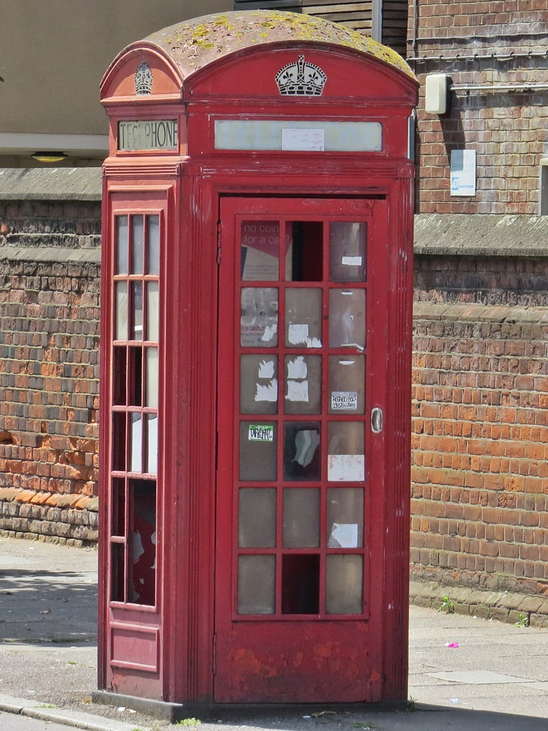 Vandalised K2 red telephone box in South London