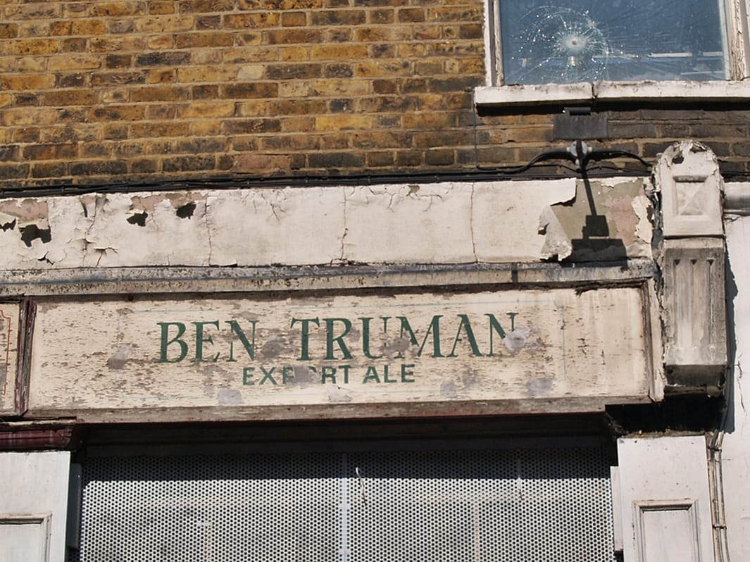Faded sign for Ben Truman Export Ale in East End