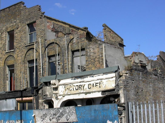 The derelict and partly destroyed Victory Cafe in Hackney
