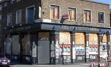 The closed Frampton Arms pub in Hackney E8