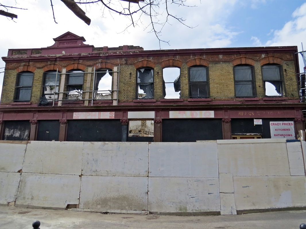 Picture of derelict Anchor pub in Canning Town, Newham on Derelict London guided walk with Paul Talling
