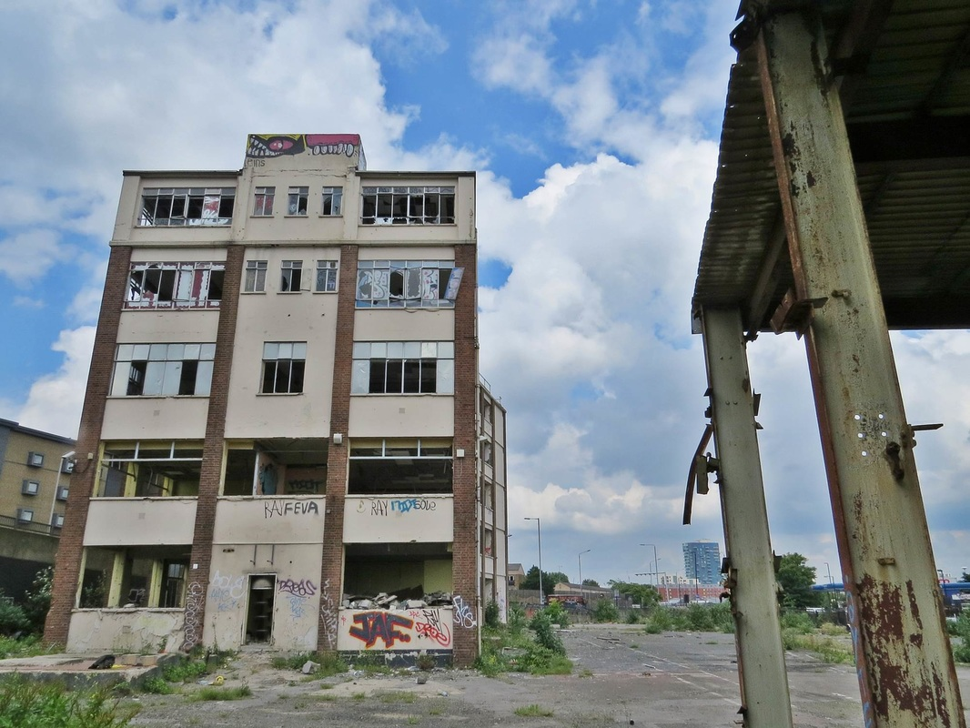 Picture of derelict offices in Bromley by Bow as seen on Bow Creek walking tour with Paul Talling