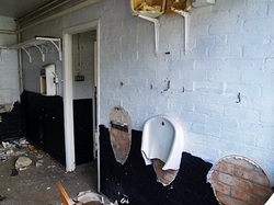 pictures of derelict vandalised toilets in London