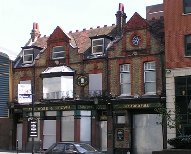 The closed down and derelict Rose and Crown in Ilford
