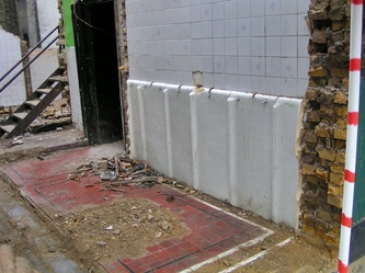 urinals in part demolished Gents toilet in South London