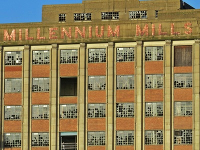 Millennium Mills as seen on Paul Talling's Derelict London walking tour of Silvertown area of Royal Docks which starts at London City Airport