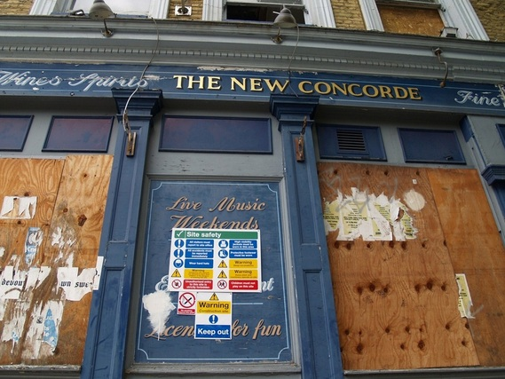 Derelict South London pub in Bermondsey. The New Concorde once frequented by the Gallagher brothers from Oasis