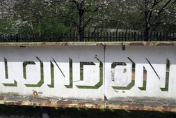Rusty sign for London Industrial Park in Beckton