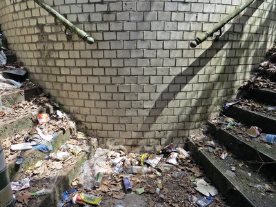Public toilets with a thick layer of recent  rat droppings as a potential slip hazard down the steps.