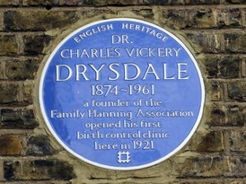 Charles Drysdale blue plaque in East Street, Walworth once the Walworth Women's Welfare Centre - a founder of the Family Planning Association