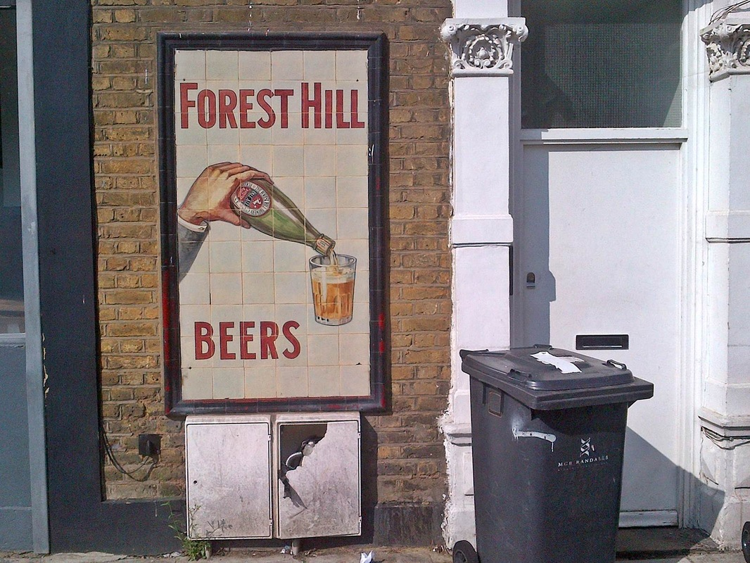 tiled brewery advertisement for Forest Hill Beers in Brixton, SW4. The brewery was based in Perry Vale , Forest Hill, SE23)
