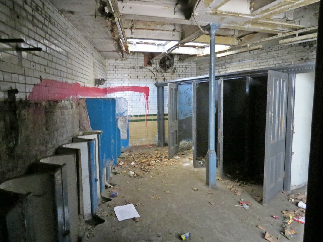 Picture of interior of  closed down Victorian (opened 1899) public toilets by St Mary's Church in Bow