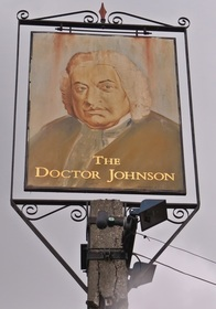 Picture of pub sign of closed down pub The Doctor Johnson - Clayhall, Barkingside. IG5