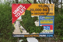 Broken  sign in Beckton advertising industrial units to let